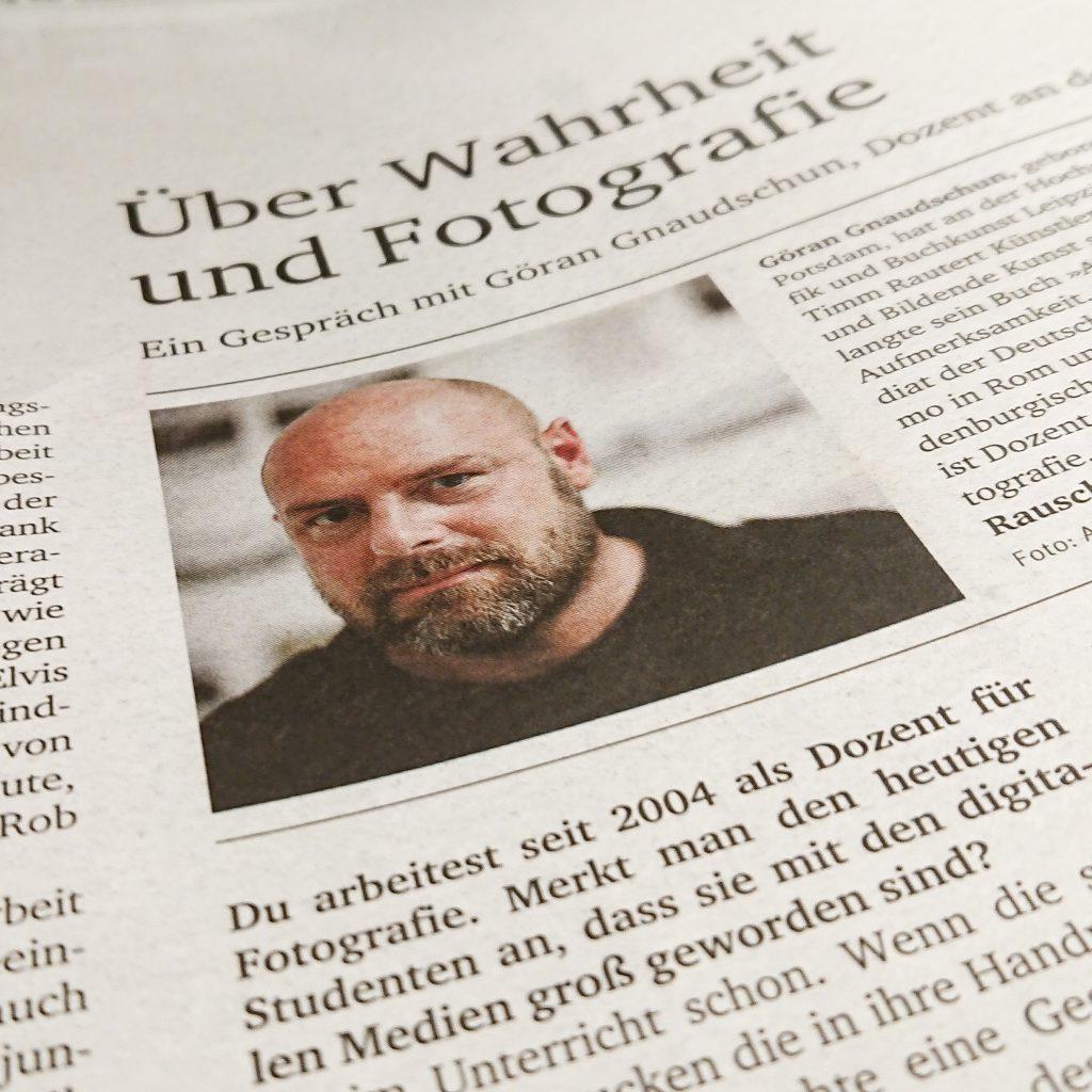 Ausriss Interview Göran Gnaudschun, Sonderdruck Neues Deutschland zum Jahrgang Dreizehn, Foto G. Gnaudschun: Alberto Novelli